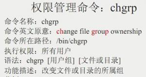 改变文件或目录的所属群组命令:chgrp